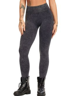 Women High Waist Seamless Yoga Legging Washed Denim Jeggings Tummy Control Workout Pants Athletic Tights Black S