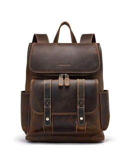 Leather Backpack 15.6 Inch Laptop Backpack Vintage Travel Office Bag Large Capacity School Shoulder Bag