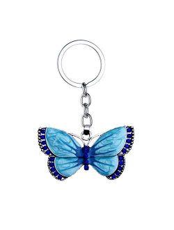 JZYZSNLB Keychain Crystal Butterfly Keychain Glittering Full Rhinestone Alloy Key Chain for Women Girl Car Bag Accessories Fashion Key Ring (Color : B)