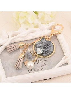 JZYZSNLB Crystal Key Chain Bow Chain Tassel Key Ring  (Color: Pink Flower)