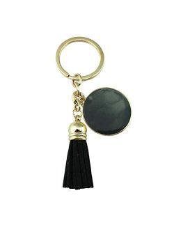 Tlwangl Keychain Key Chain Tassel Engraved Car Keychain Female (Color : Gold Blue)