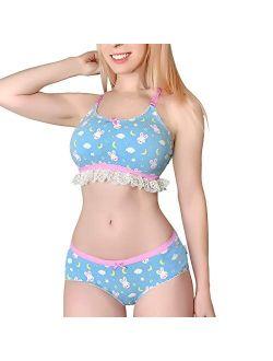 Lacy Trim Women Nightwear Strap Sleepwear Cami Top Shorts Lingerie Bralette Loungewear Set - Snuggle Bunny