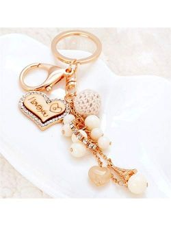 Creative Heart Keychains Fashion Key Chains Women Bag Charm Pendant Car Key Rings Holder Love Beads Keyrings Gifts (Color : Gold)