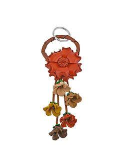 Floral Paradise Genuine Orange Leather Loop Key Chain or Key Ring