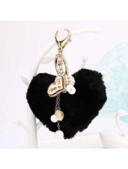 weichuang Cute Heart Pompom Keychain,Fluffy Flush Faux Rabbit Fur Key Chains