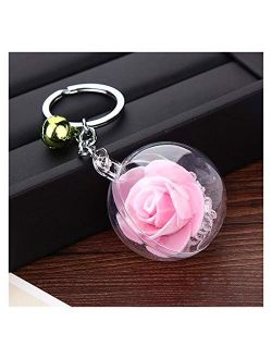 Tlwangl Wall Clock Women Bag Pendant Unique Transparent Flower Ball Keychain Charm Bell Rose Flower Keychain Silver Color Metal Key Rings (Color : 2)