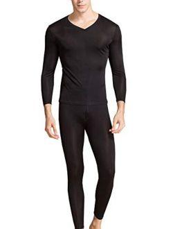 Men's Silk Long Johns V-Neck Mens Silk Long Underwear   Mulberry Silk Thermal Underwear Sets& Base Layer