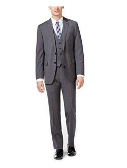 Mens Plaid Windowpane Two Button Formal Suit