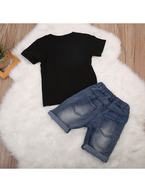 Toddler Kid Baby Boy Clothes T-shirt Top Shirt Tee Denim Shorts Pants Summer Outfit Set