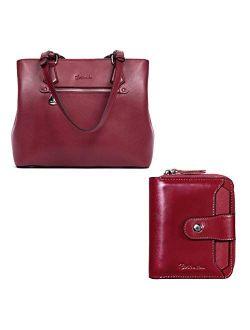 Women Handbag Genuine Leather Shoulder Bag Soft Designer Top Handle Purses And Leather Wallets For Women Rfid Blocking Zipper Pocket