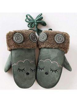 feiren Fashion Children's Cute Cartoon Rabbit Bear Mittens Boy/Girls Winter Plus Plush Cashmere Thicker Warm Suede Leather Mittens