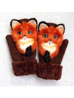 FSJIANGYUE Girl's Warm Soft Rabbit Fur Knit Mittens
