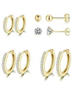 Silver Hoop Earrings for Women, 925 Sterling Silver Huggie Hinged Earrings with AAA Cubic Zirconia, Diameter 13mm Hypoallergenic Small Sleeper Hoop, 8/10/12/13MM