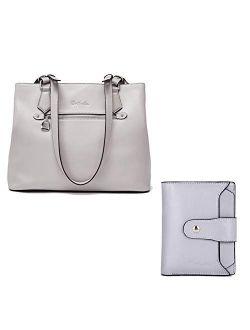 Women Handbag Genuine Leather Shoulder Bag Soft Designer Top Handle Purses And Women Leather Wallet Rfid Blocking Small Bifold Zipper Pocket Wallet