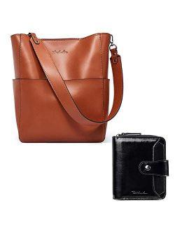 Women's Leather Designer Handbags Tote Purses Shoulder Bucket Bags Brown And Leather Wallets For Women Rfid Blocking Zipper Pocket Small Bifold Wallet Black Bun