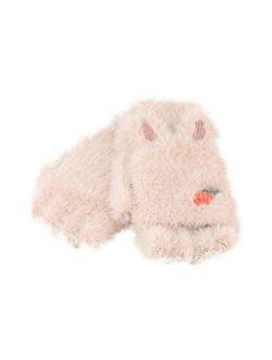 No-branded Cute Rabbit Ears Plush Gloves Girls Flipped Half Finger Gloves Outdoor Kids Winter Children Gloves SZMAABBC (Color : Gray, Size : 1)