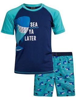 Quad Seven Boys 2-Piece Rash Guard and Trunk Swimsuit Set (Infant/Toddler/Little Boys)