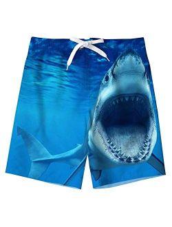 TUONROAD Boys Swim Trunks Quick Dry Swim Shorts Pineapple Dinosaur Shark Board Shorts for Boys 5-14T