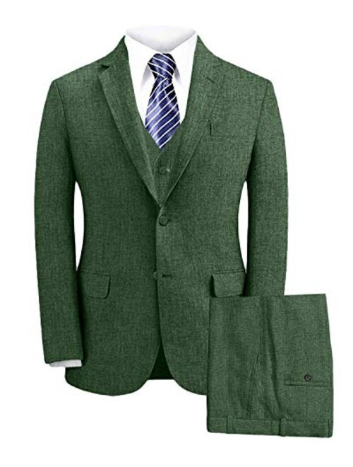 Summer Men/'s Linen Suits Double Vent Peak Lapel Groom Prom Wedding Tuxedos Slim