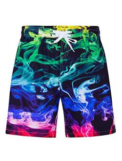 Idgreatim Teen Boys UPF 50+ Swim Trunks Quick Dry Swimwear Bathing Suit with Mesh Lining 7-14 Years