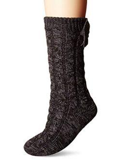 Women's Laila Bow Fleece Lined Sock Slipper