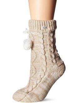 Womens Pom Pom Fleece Lined Crew Sock