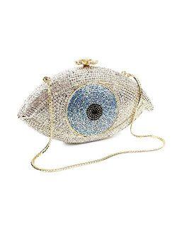 Eye Shape Luxury Crystal Wedding Purses Women Handbag Clutch Evening Bag Purse