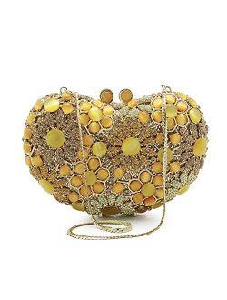 Handmade Heart Shape Crystal Evening Clutch Purse Wedding Party Hand Bags Evening Clutch Bag (color : Pink)