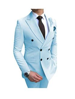 Mens Suits 2 Piece Classic Double Breasted Jacket Peak Lapel Business Formal