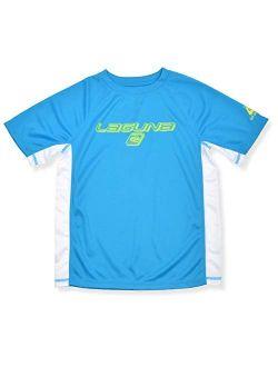 LAGUNA Boys Crewneck Short Sleeve Loose Fit Rashguard Swim Sun Tee Shirt, UPF 50+