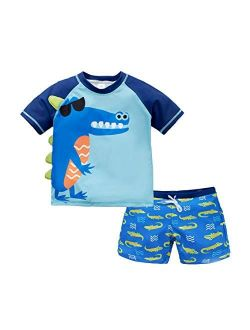 Vegaltair Little Toddler Boy's 2-Piece Swimsuit Trunk and Rashguard Ages 2-6 Years