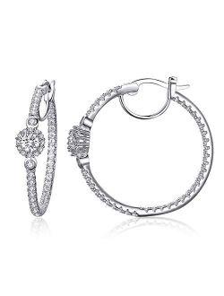 ECOLVANT Hoop Earrings for Women Sterling Silver Earrings Swarovski Crystal Cubic Zirconia Huggie Hoop Earrings for Women Girls Birthday Party Hypoallergenic Women Fashio