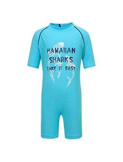 PHIBEE Boys' One Piece Rash Guard Swimsuit Short Sleeve UPF 50+ Sun Protection Bathing Suits