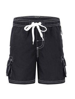 Akula Boys' Quick Dry Swim Trunks Beach Board Shorts with Mesh Lining