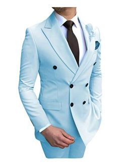 Aesido Men's Suits 2 Pieces Double Breasted Regular Fit Notch Lapel Solid Prom Tuxedos (Blazer+Pants)