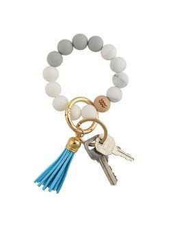 Zodiac Signs Constellations Car Key Ring Bracelet, Silicone Beaded Keychain Wristlet For Women W/ Gift Box