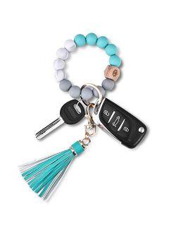 Key Ring Bracelet Wristlet Keychain: Silicone Beaded Bangle Chains