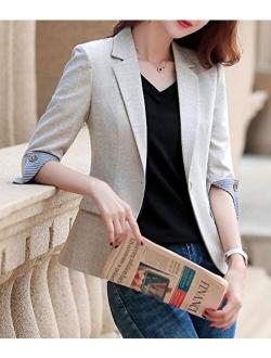 Womens Casual Jacket Casual Work Blazer Office Jacket Slim Fit Blazer For Business Lady