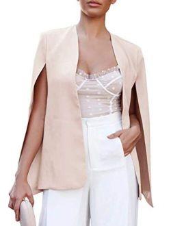 Valphsio Womens Cape Blazer Split Sleeve Open Front Lightweight Office Jacket Workwear