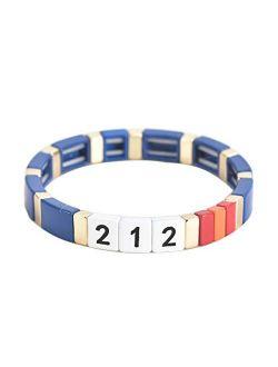 Number Tile Enamel Bracelets- Heart Initial Bracelets For Women Gifts - Engraved Personality Bracelet Tila Enamel Jewelry Gift For Women Teen Girls