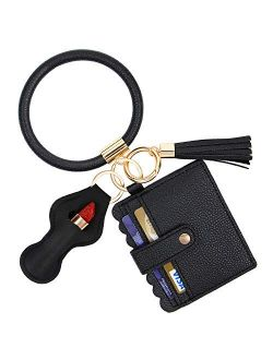 GDKEY Keychain Bracelet, Keychain Pocket Card Holder, Tassel Key Chain Wristlet Ring Circle Bangle,Charpstick Holder Keychain