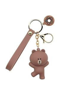 MEIPEL Keychains with Cute Cartoon Animals Ring Bag Charm Key Ring Decoration Gift for Girls Women Brown