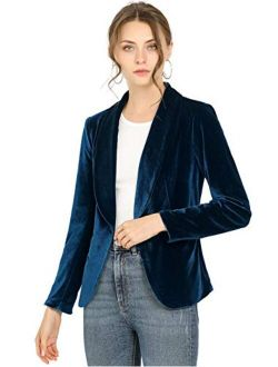 Women's Office Coat Solid Shawl Collar 1 Button Velvet Blazer