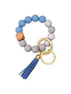 Silicone Bracelet Keychain Wristlet Bangle Keyring Portable House Car Keys Ring Holder W/ Tassel