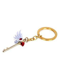 GK-O Anime Card Captor Sakura Kinomoto Sakura Star Wand Keyring Necklace Pendant Key Chain