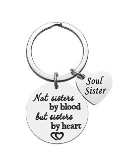 Friendship Gifts for Women - Not Sisters By Blood But Sisters By Heart Soul Sister Friend Keychain, Birthday Christmas Gifts for Friends