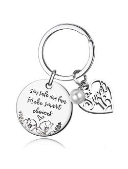 Stay Safe Have Fun Make Good Choices Sweet 16 Years Old Girl Gifts for Birthday, 16th teenage Drivers Keyring , New Driver or Graduation Keychain