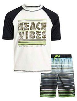 Boys' 2-piece Upf 50+ Short Sleeve Rashguard Shirt And Board Short Set