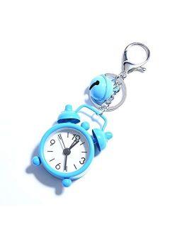 JZYZSNLB Keychain Cute Mini Alarm Clock Keychain Small Watch Key Chain Women Men Car Key Ring Bag Charms Pendant Trinket Jewelry Souvenir Gift (Color : Blue)