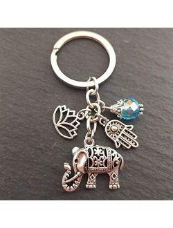 yywl Keychain 1pc Keychains Unique Bohemia Gift Key Holder Lotus Jewelry Hand Elephant Car for Women (Color : 1)